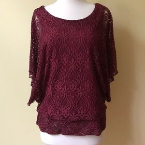 Brittany Black Burgundy Lace Dolman Sleeve Top